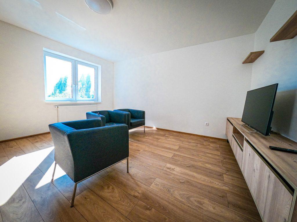 vzorový byt pohľad do obyvacej časti bytu
